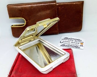 Vintage 1980s hand mirror, Clarins mirror, vintage handbag mirror in fitted case, white vintage compact,  1980s hand mirror, 1980s compact