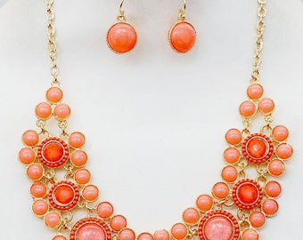 Beautiful Orange Statement Necklace with matching earrings