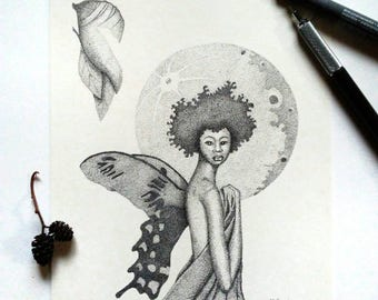 Chrysalis Original Pen and Ink Pointillism Drawing of Woman, Moon and Butterfly Wings Afrocentric
