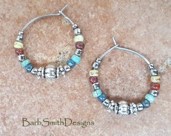 """Beaded Turquoise Blue Red Yellow and Silver Aztec Stainless Steel Hoop Earrings, Small 3/4"""" Diameter"""
