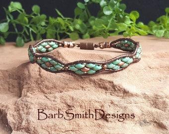 "Turquoise Leather Beaded Wrap Bracelet-Turquoise Copper Bracelet-Southwest-Boho-Magnet Clasp-Size 7""-Custom Sizes-Flower Girl in Verdigris"