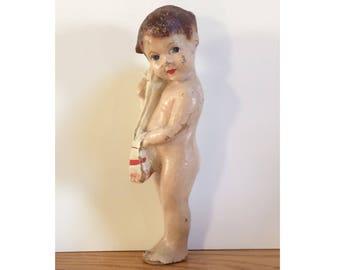 Westinghouse Cozy Glow Kid - Antique Papier Maché Advertising Doll - Vintage 1920s - Rare Collectible - 79-15