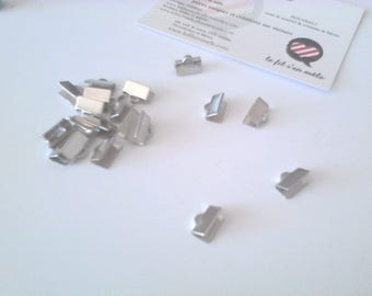 20 caps Ribbon clip, smooth, 10mm, silver plated brass