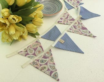Blue dotty bunting -  lilac floral bunting - vintage style bunting