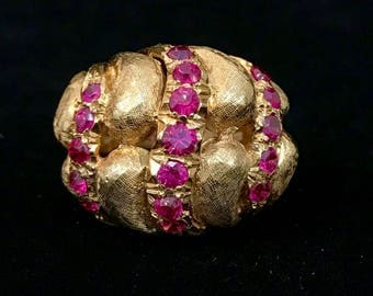 18k Gold Ruby Bulbous Baroque ring.