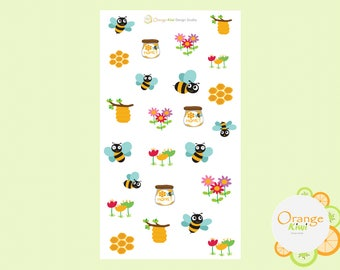 Bee Stickers, Bee Planner Stickers, Bee and Honey Stickers, Summer Planner Stickers