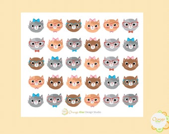 Nerdy Cat Stickers, Nerdy Stickers, Cat Head Stickers, Cute Planner Stickers