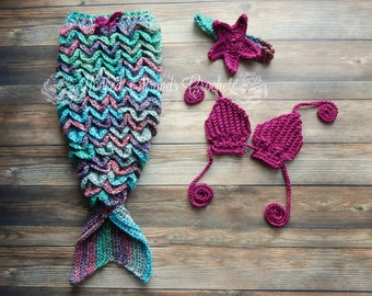 Baby Mermaid tail set, Baby photo prop, Mermaid costume, Mermaid outfit, Crochet Mermaid tail, Baby girl clothing, Baby shower gift