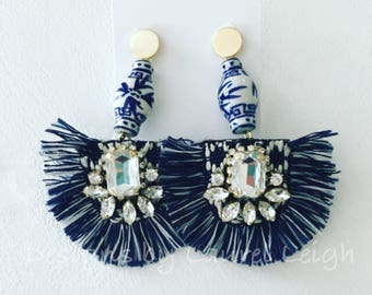 NAVY and WHITE Fringe Earrings | blue and white, gold, ginger jar, fan, chinoiserie, posts, dressy