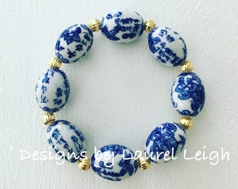 BLUE and WHITE Beaded Bracelet | Chinoiserie, navy, royal, stretchy, gold, Designs by, Laurel Leigh