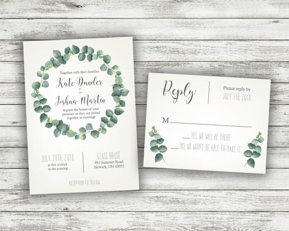White And Green Wedding Invitations: Green And White Fern Wedding Invitations Greenery Wedding