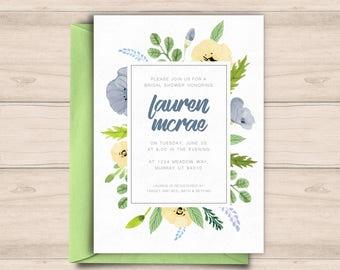 Floral Bridal Shower Invitation, Shower Invite, Floral Invitation