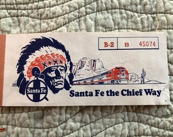 Santa Fe Passenger Railroad Ticket Sleeve Coupon 1955
