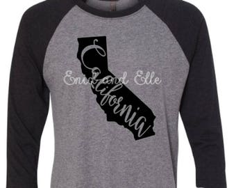 California t-shirt-California state shirt-California home t-shirt-home shirt-California baseball shirt-California raglan shirt-Enid and Elle