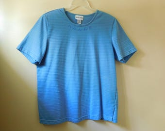 Vintage Alfred Dunner Short Sleeve Blue Top Size Medium