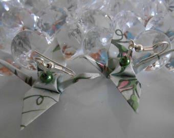 Origami cranes floral dark green pearls earrings