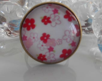 """Floral liberty"" glass cabochon bronze ring"