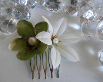 Garden green and white wedding hair comb