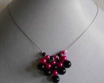 Necklace authentic wedding beads Fuchsia and black