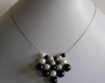 Wedding necklace genuine black and white beads