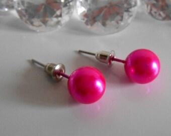 Fuchsia 10 mm Pearl Stud wedding earrings