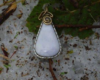 White Jade 5 cm, gold frame pendant