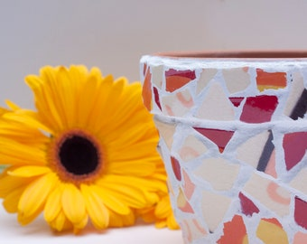 Flower pot with drainage hole, small mosaic flowerpot & plant holder with drainage hole, red orange cream yellow white plant pot container