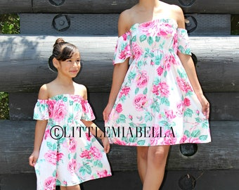 off the shoulder dress, valentine's kids, mommy and me outfits, mother daughter matching dresses,mommy and me, matching outfits, girl summer