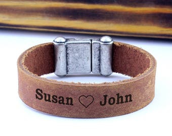 Personalized Leather Bracelet, rustic leather bracelet, Custom engraved bracelet, engagement gifts, anniversary Jewelry, Keepsake Bracelet