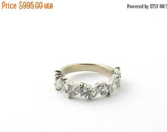 Christmas in July Sale Vintage 14 Karat White Gold Diamond Wedding Band Size 4.75 #1974