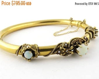 Christmas in July Sale Vintage 14K Yellow Gold Opal and Seeded Pearl Bangle Bracelet #501