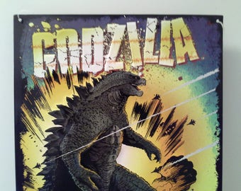 Watch out...Godzilla tin sign