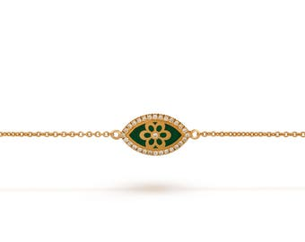 green Enamel Flower Bracelet, green evil eye, evil eye jewelry, rose gold , evil eye charm, evil eye , evil eye diamond , 14k gold,