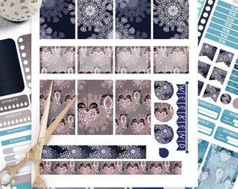 Winter Snowflake Planner Stickers Printable, Winter Decoration BIG MAMBI Happy planner Kit, Weekly Kit, Printable Sampler,Instant download
