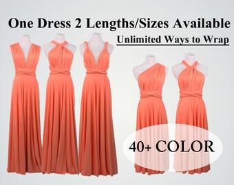Coral Bridesmaid Dress,convertible Bridesmaid Dress,Coral Dress,infinity dress long,convertible dress,infinity dress short bridesmaid dress