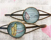 Antique Bronze Madagascar, Sri Lanka Map Hair Pins, Set of 2 Pieces Map Hair Clips
