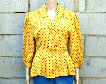 Vintage Blouse - Yellow - Long Sleeved - Silky - 90's - Office - Secretary