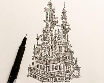 Castle | Pen and Ink Drawing | Original Art