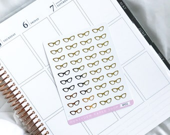 Foiled Glasses Stickers || Reading Stickers