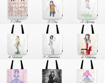 Fashion Illustration Tote Bags, Colorful reusable canvas bags , Fun fashion Tote Bags , gifts for her, canvas totes, illustrated totes, cute