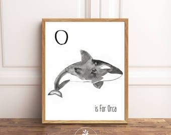 O is for Orca, Instant Download, nursery art, Classroom Art, Kids room art, printable poster