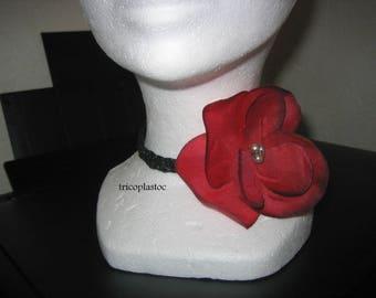 Choker, black, flamenco, french. Cancan, dark red poppy flower