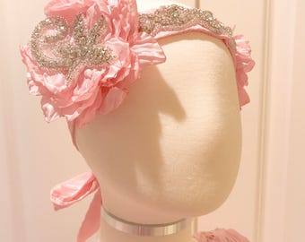 Flower Girl Headband , Flower Girl Hair Piece, Flower Girl Rhinestone Headband , Girls Headband,