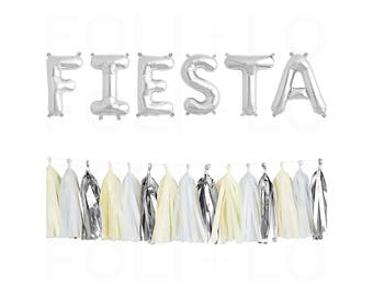 "FIESTA Letter Balloons | 16"" Silver Mylar Letter Balloons 