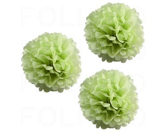 "GREEN TEA Puff Ball | Tissue Paper Puff Ball | 16"" Puff Ball Decor 