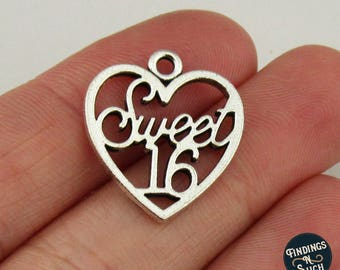 8 Sweet 16 Charms Antique Silver Tone
