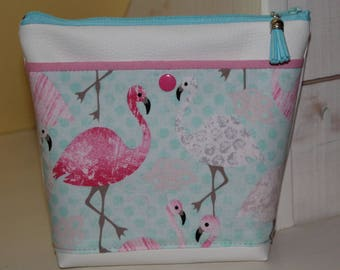 FLAMINGOS leatherette case white pink and turquoise