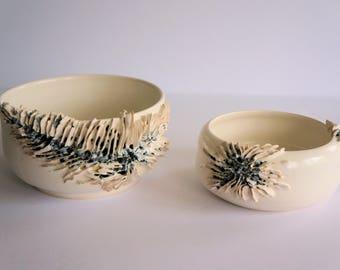 Sharp Edges, Decorative Ceramic Bowls - set of 2 - organic, design, pottery, handmade, gift, decor