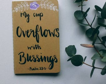 Handpainted- Blank Notebook- Prayer Journal-