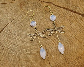 Dragonflies, brass, Opal rhinestone earrings